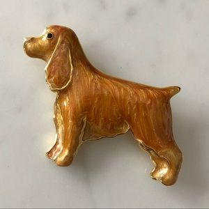 Gold Tone Enamel Golden Retriever Dog Brooch
